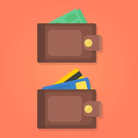 Wallet with money and credit card isolated vector illustration.