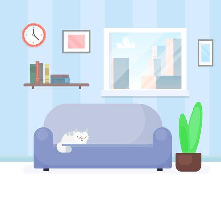 Living room interior design with furniture. Flat style vector illustration Illustration