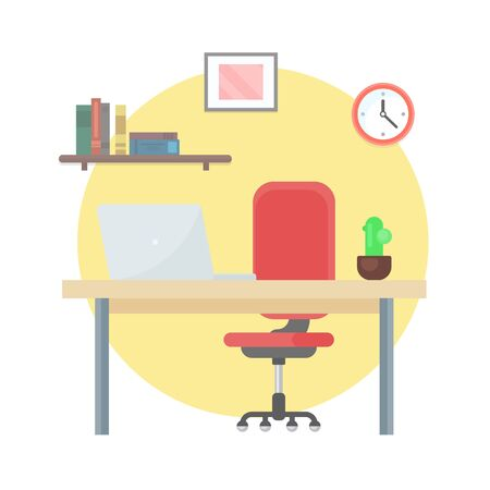 Workplace, wooden table with personal computer vector. Isolated desktop with laptop, business appliances, devices for work