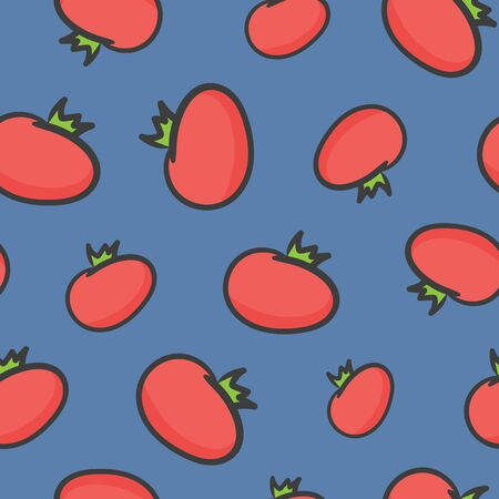 Seamless background from tomatoes on blue background. Fresh tomato pattern.