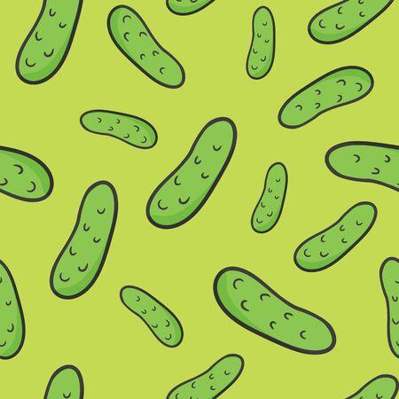 Cartoon cucumber vegetarian pattern, vector vegan green color background. Illustration
