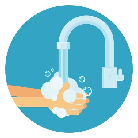 Washing hands with bubbles. Person care vector
