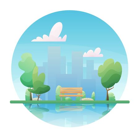 Bench in the summer sunny park. Big City background. Flat style vector illustration.