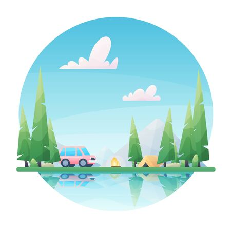 Sunny day landscape illustration in flat style with tent, campfire, mountains, forest and water. Illustration
