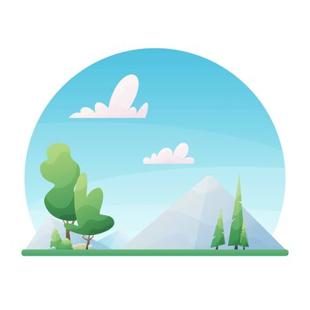 Sunny day landscape illustration in flat style with mountains, forest and clouds.
