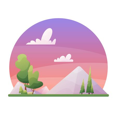 Evening day landscape illustration in flat style with mountains, forest and clouds. Illustration