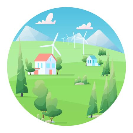 Summer Farm Landscape Vector illustration. beautiful summer fields landscape with a green grass and hills, blue sky, in flat cartoon style. Wind energy converter. Renewable resource.