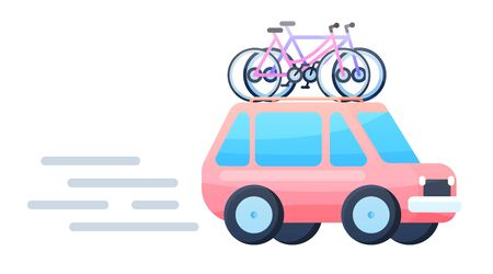 Vector flat design crossover vehicle with bicycles on top rack. Tourism design element on recreational destination travel by car for riding on bicycle