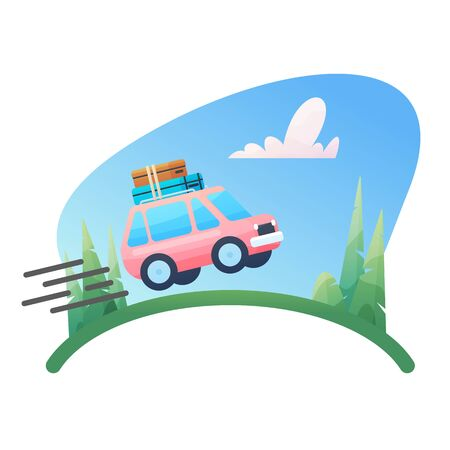 Summer holydays design element on recreational destination travel by car for camping carrying own luggage