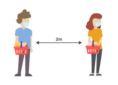 Social distancing in the shop, 2 meters safe distance. Illustration