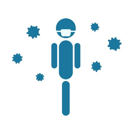 Face mask and virus vector icon, flu mask icon.