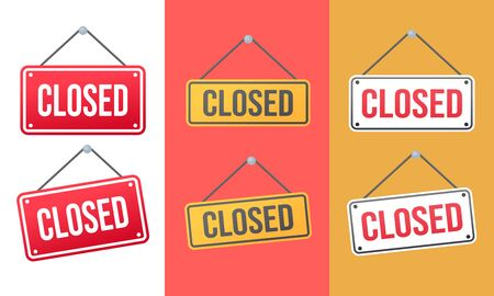 Art design closed banner on door store template. Signboard with a rope. Abstract concept for businesses, site, shop services element set Illustration