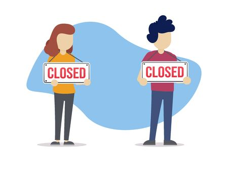 Concept of people standing with closed sign. Problem with job, unemployment . Cartoon flat vector illustration in modern style. Illustration