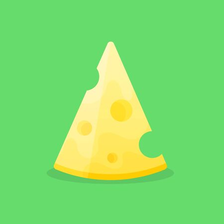 Yellow Cheese vector isolated on green background. Illustration