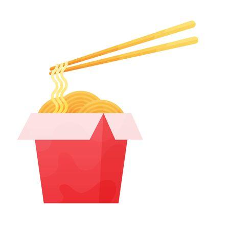 wok box food asian ramen delivery noodles illustration. Illustration