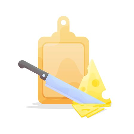 Knife Slicing Cheese on with Cutting Board. Preparation Vector flat Illustration