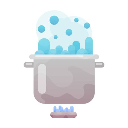 Boiling water in pan. Cooking pot on stove with water and steam. Flat design graphics elements. Vector illustration