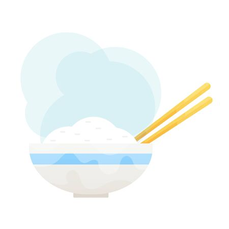 Rice in a bowl with chopstick isolated vector illustration. Illustration