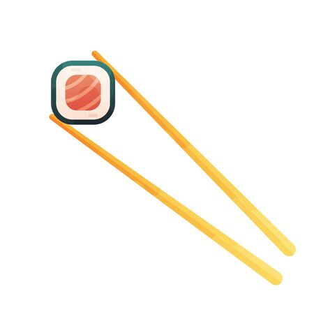 chopsticks holding sushi roll. concept of snack, susi, exotic nutrition, sushi restaurant, sea food.