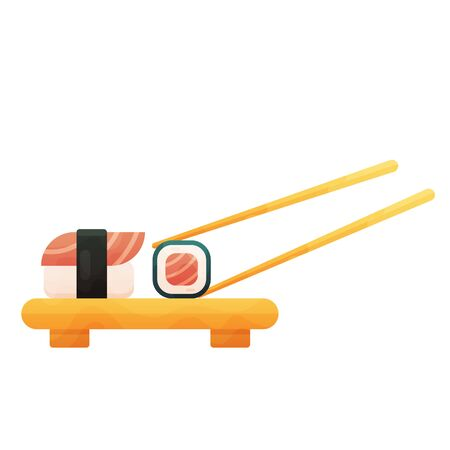 Sushi set and sushi roll on wooden board. Isolated on white background.