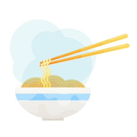 vector flat asian wok udon noodles in ceramic pot with bamboo sticks.