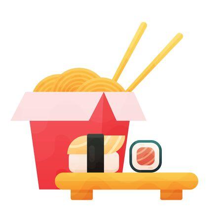 Ramen Noodles and sushi Vector flat Illustration on white background. Illustration