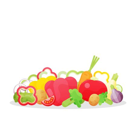 Vector illustration with fresh organic vegetables isolated on white background. Illustration