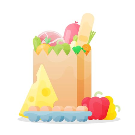 Grocery bag isolated on white background. Paper bag with fresh food. Supermarket concept. Flat style vector illustration.