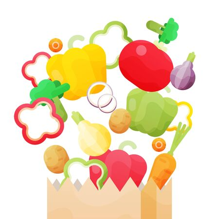Vector illustration with Paper bag with fresh organic vegetables isolated on white background. Illustration