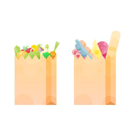 Two Paper bag full of food. Grocery delivery concept. Modern flat design concepts for web banners, web sites, printed materials, infographics. Colorful vector illustration Illustration