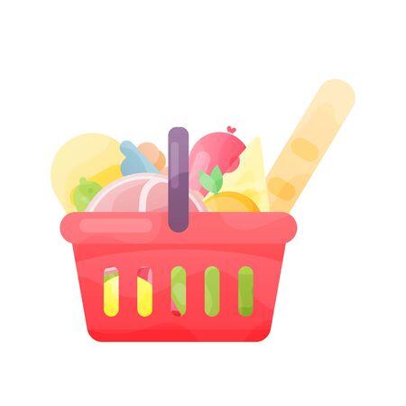 Bright cartoon supermarket basket icon full of produce - fruits, vegetables and bread. Flat vector illustration.