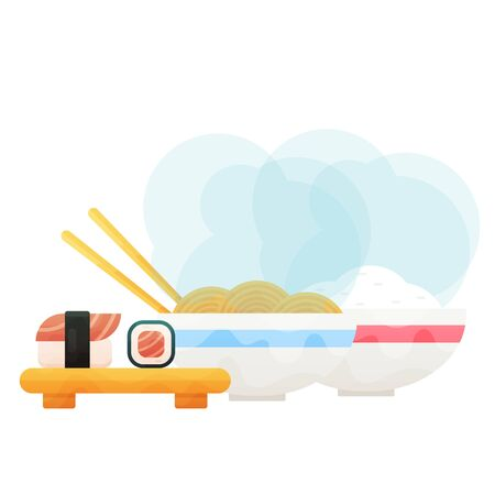 Sushi set and on wooden board and bowls whith rice and nooddles. Illustration
