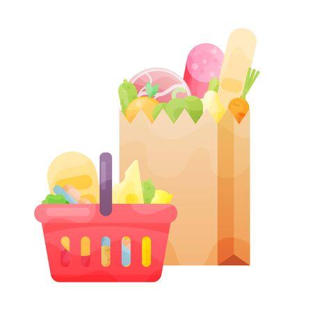 basket and bag paper with food in flat vector illustration design