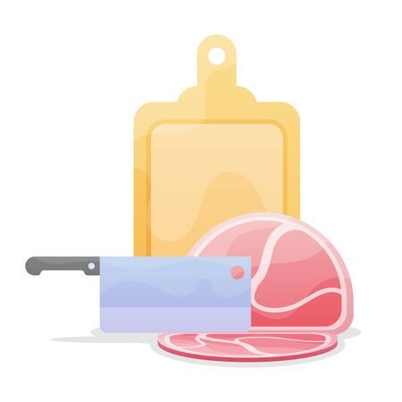 Meat steak chopped with wooden chopboard with kitchen knife. vector illustration