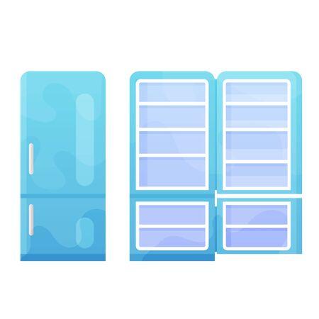 Open and closed blue refrigerator vector flat illustration Illustration