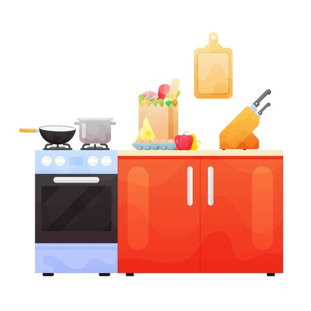 Interior of kitchen, pans on the stove, cooking. Vector illustration in flat style Çizim