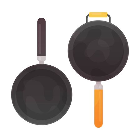 Empty frying pan and wok, top view isolated on white background.