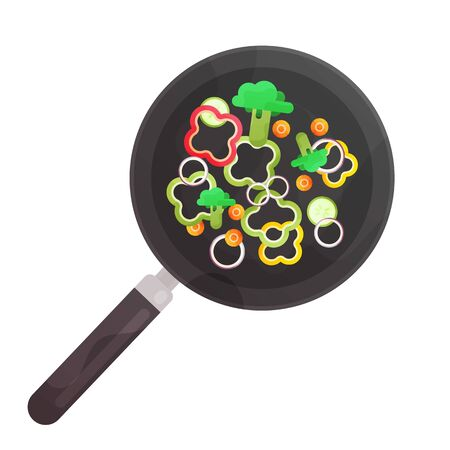 Vegetables in the frying pan, cooking flat colorful illustration