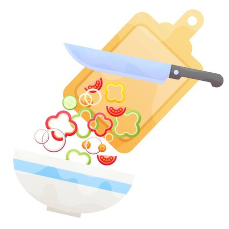 Preparing a fresh vegetable salad with a knife and chopping board and fresh chopped vegetables falling into a bowl, flat style