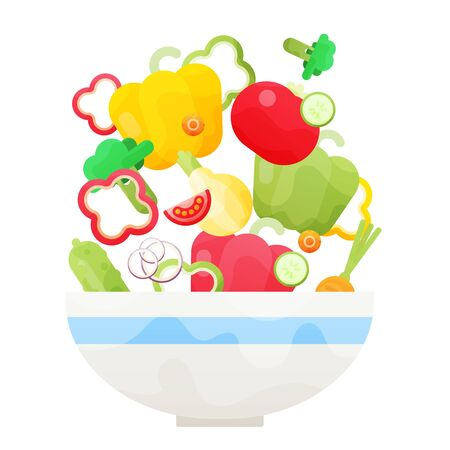 illustration of bowl full of fresh vegetable salad in flat style