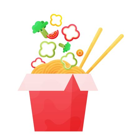 Chinese wok food sketch noodles box with flying vegetables.