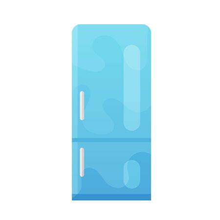 Closed blue fridge vector flat illustration for web design