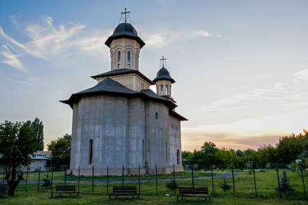 Saint George the Great Martyr Church in Giurgiu, Romania, on a quiet evening. Unfinished church.