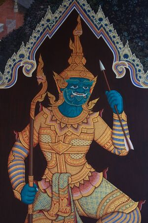 thai style giant , wall painting in thailand grand palace 免版税图像