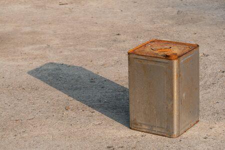 rust bucket on the ground Stockfoto