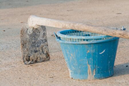 construction blue bucket and  hoe Stock Photo