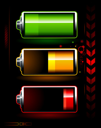 chemic: Just batteries on dark high technology background Illustration