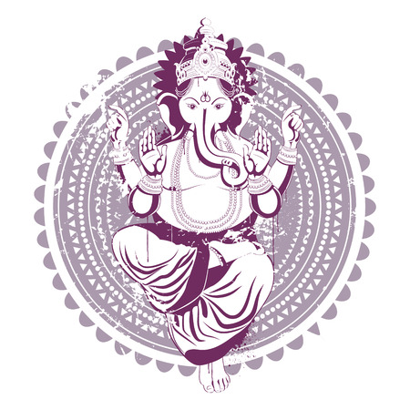 siluetas de elefantes: Imagen �tnica con el �dolo de la India