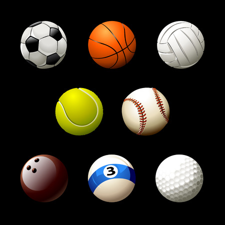 Sett of realistic balls on white background