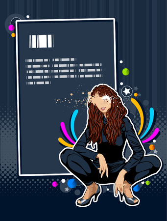 crazy hair: Thin sexy girl on abstract background. Abstract vector illustration. Illustration
